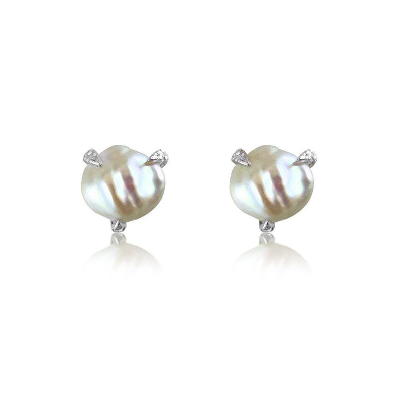14k white gold studs with baroque pearls and diamonds