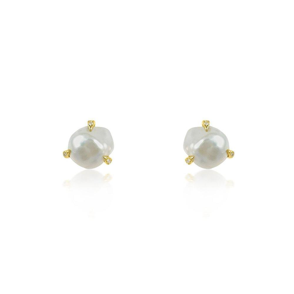 14K Yellow Gold Earrings with Baroque Pearls and Diamonds