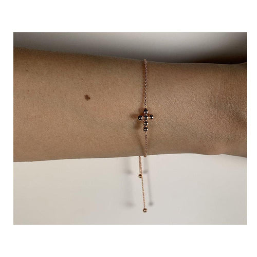 14K Rose Gold Cross Bolo Bracelet