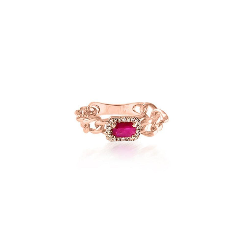 14K Rose Gold Chain with Ruby and Diamonds Ring