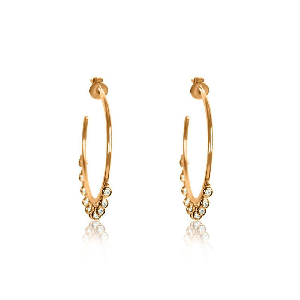 14K Rose Gold Hoops with Diamonds