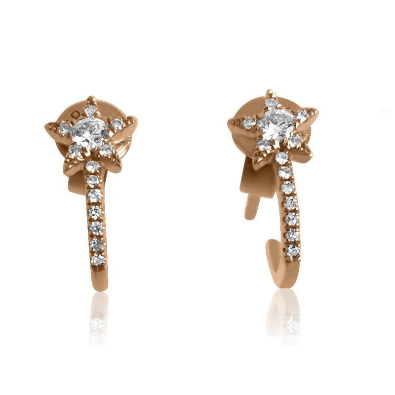 14K Rose Gold Earrings with Diamonds     2 Diamonds of 0.10ct 24 Diamonds of 0.06ct Gold Total Weight: 1.42g Post Back Closure