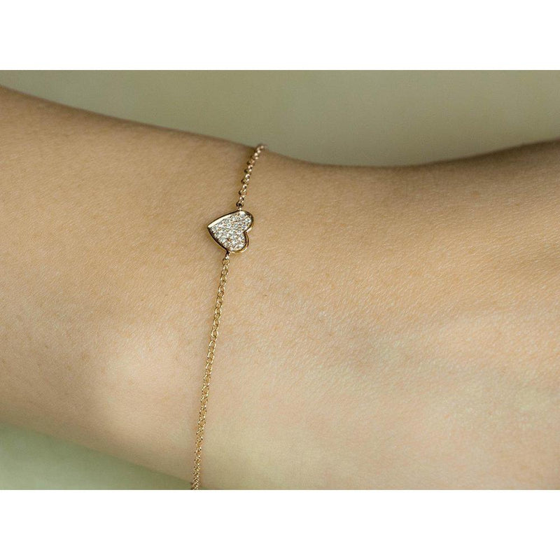 14K Yellow, White or Rose Gold Heart Bracelet with Diamonds