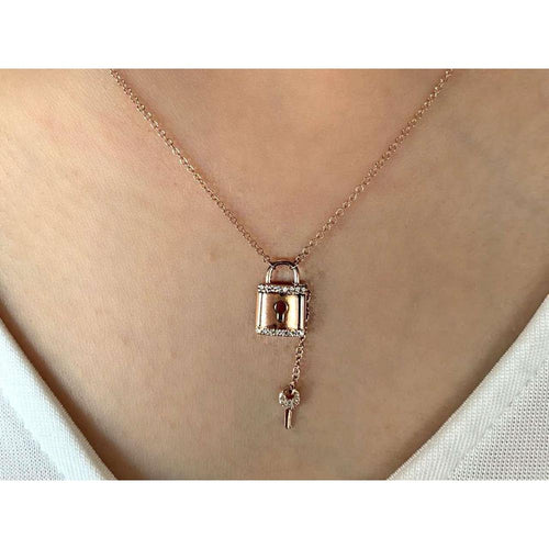 14K Rose Gold Diamond Lock and Key Necklace