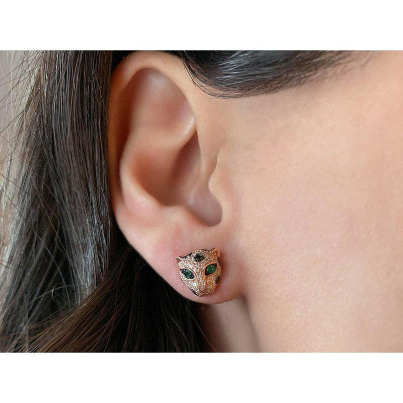 14K Rose Gold Leopard Earrings with Emerald, Black and White Diamonds