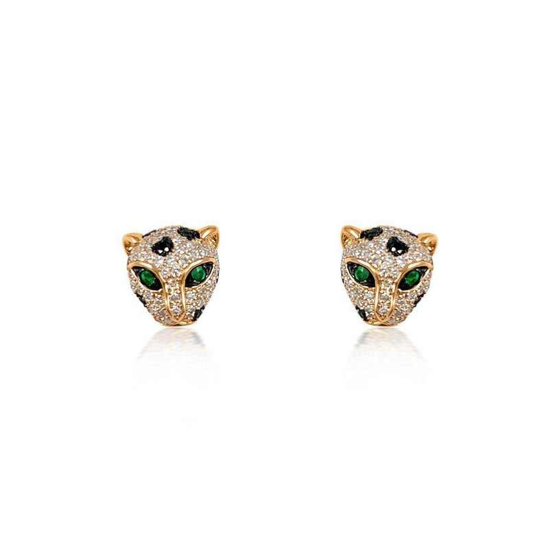 14K Rose Gold Earrings with Emerald, Black and White Diamonds