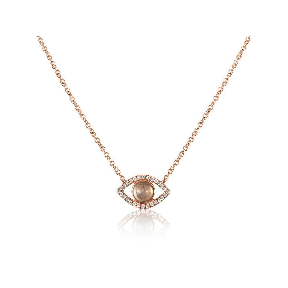 14K Rose Gold Necklace with Moonstone and Diamonds