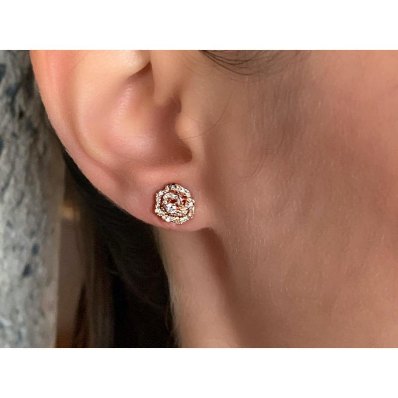 14K Rose Gold Flower Studs Earrings with Diamonds