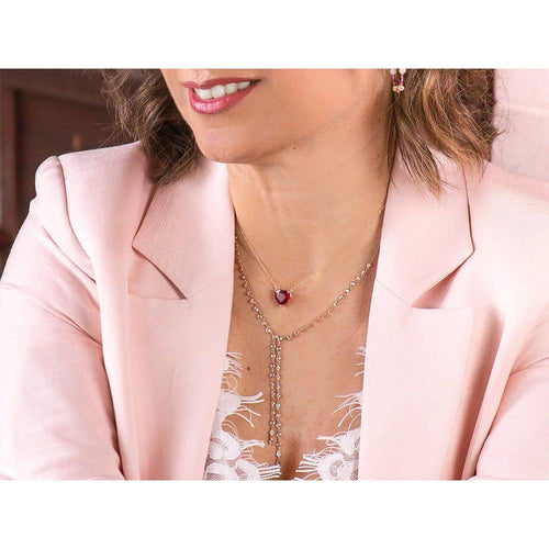 14K Rose Gold Lariat Necklace with Diamonds