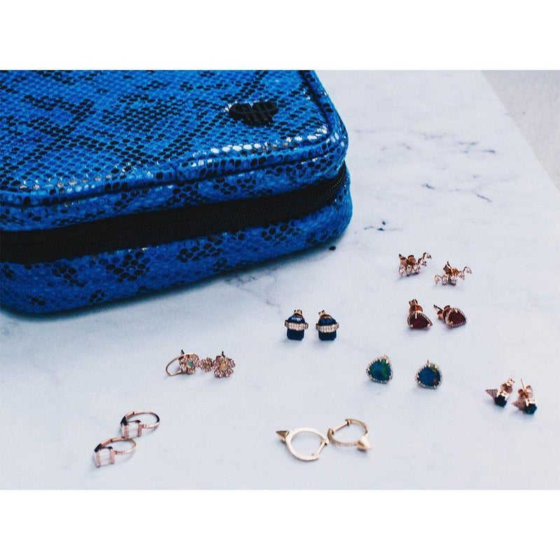 Studs with jewelry travel case on the side