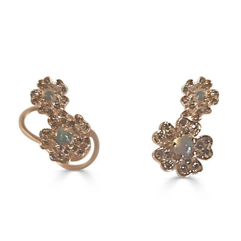 14K Rose Gold Earrings with Opal and Diamonds  Studs 75 Diamonds of 0.16ct 3 Opals of 1.12ct Gold Total Weight: 1.62g Post Back Closure