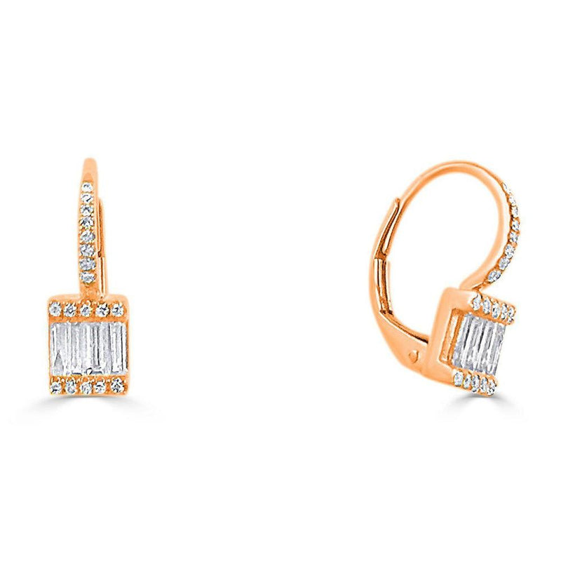 14K Rose Gold Earrings with Diamonds  36 Diamonds of 0.08ct 8 Baguettes of 0.30ct Gold Total Weight: 1.78g Lever Back Closure