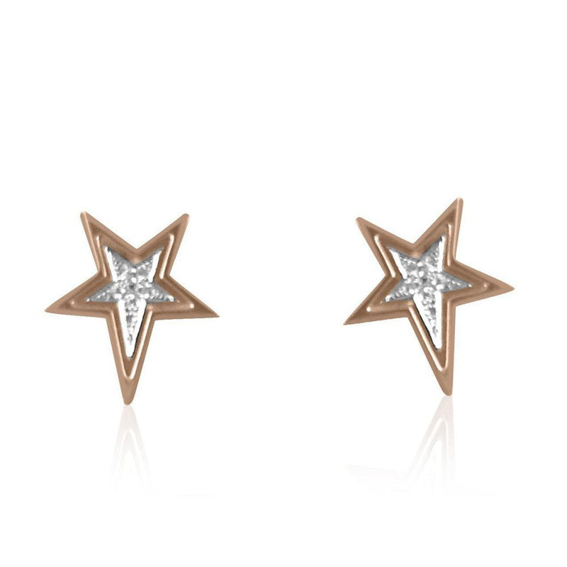 14K Rose Gold Earrings with Diamonds  14 Diamonds of 0.04ct Gold Total Weight: 1.58g Post Back Closure