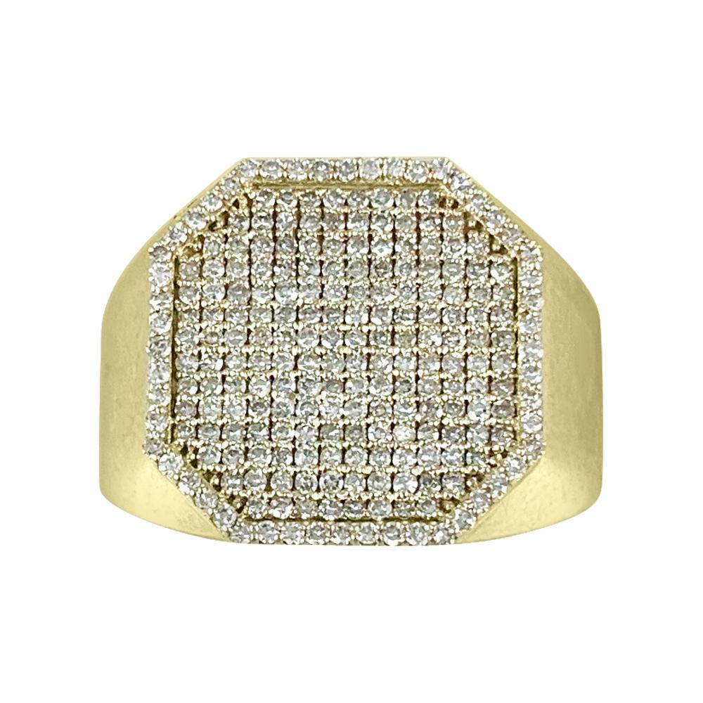 14K Yellow Gold Square Diamond Ring