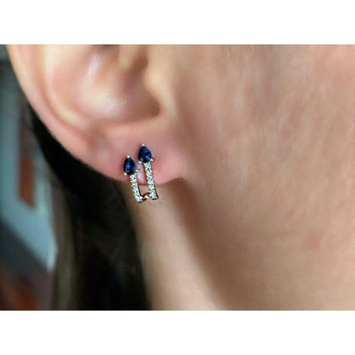 14K White Blue Sapphire Diamond Hoop Earrings