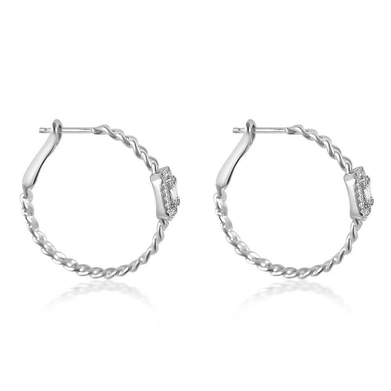 14K White Gold Earrings with Baguettes