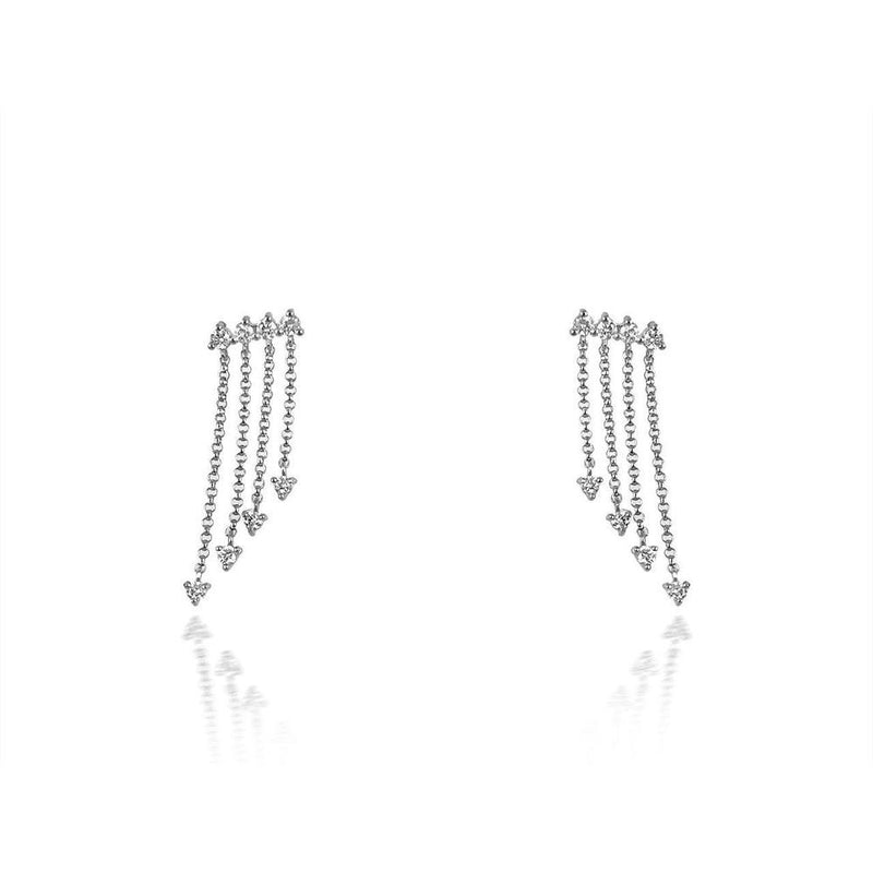 14K White Gold Chain Diamond Earrings