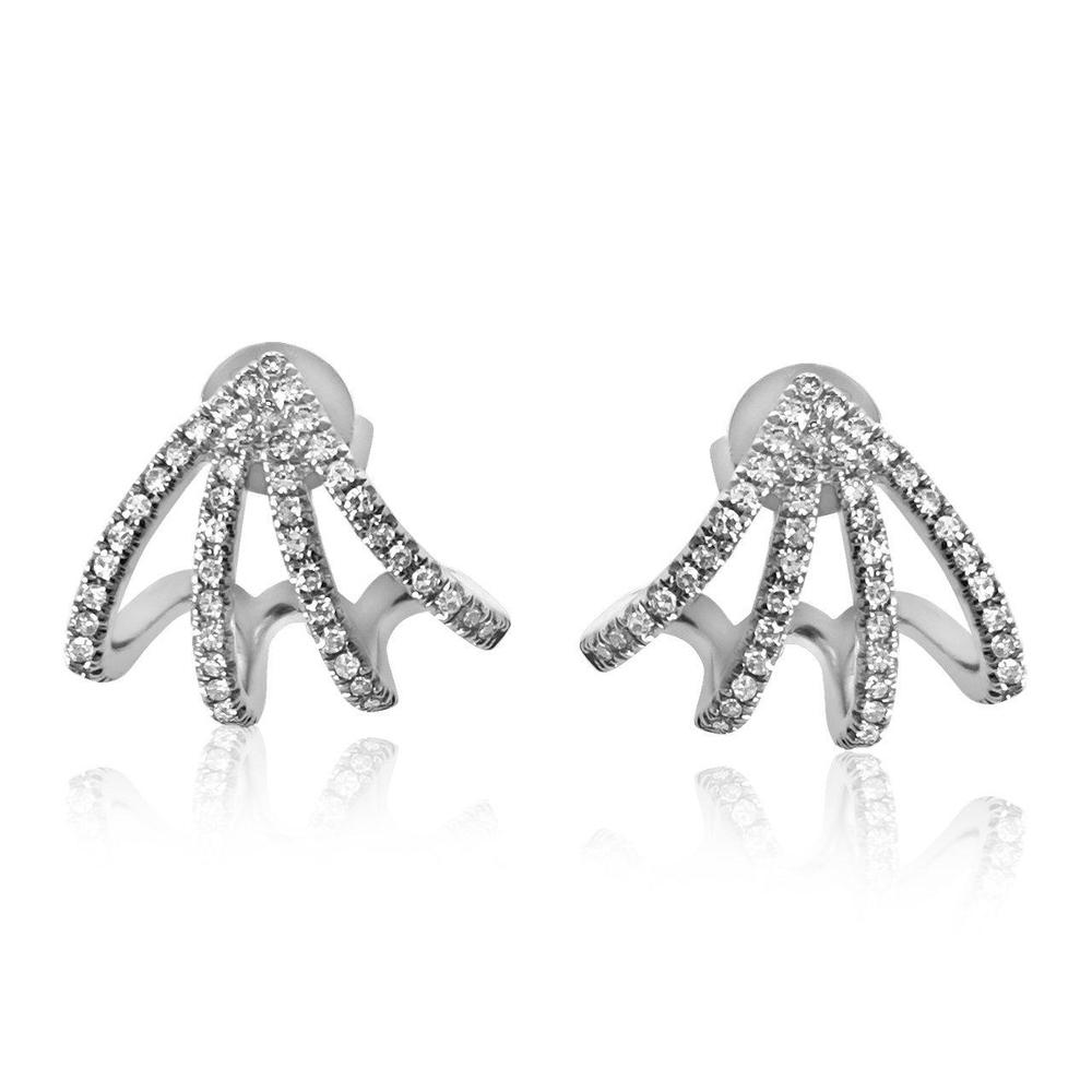 14K White Gold Earrings with Diamonds  102 Diamonds of 0.30ct Gold Total Weight: 2.90g Post Back Closure
