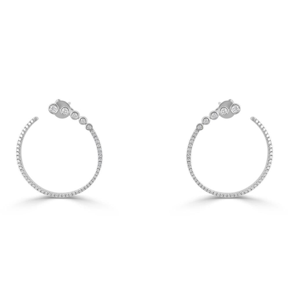 14K White Gold and Diamonds Earrings  10 Diamonds of 0.17ct 108 Diamonds of 0.33ct Gold Total Weight: 3.42g Post Back Closure