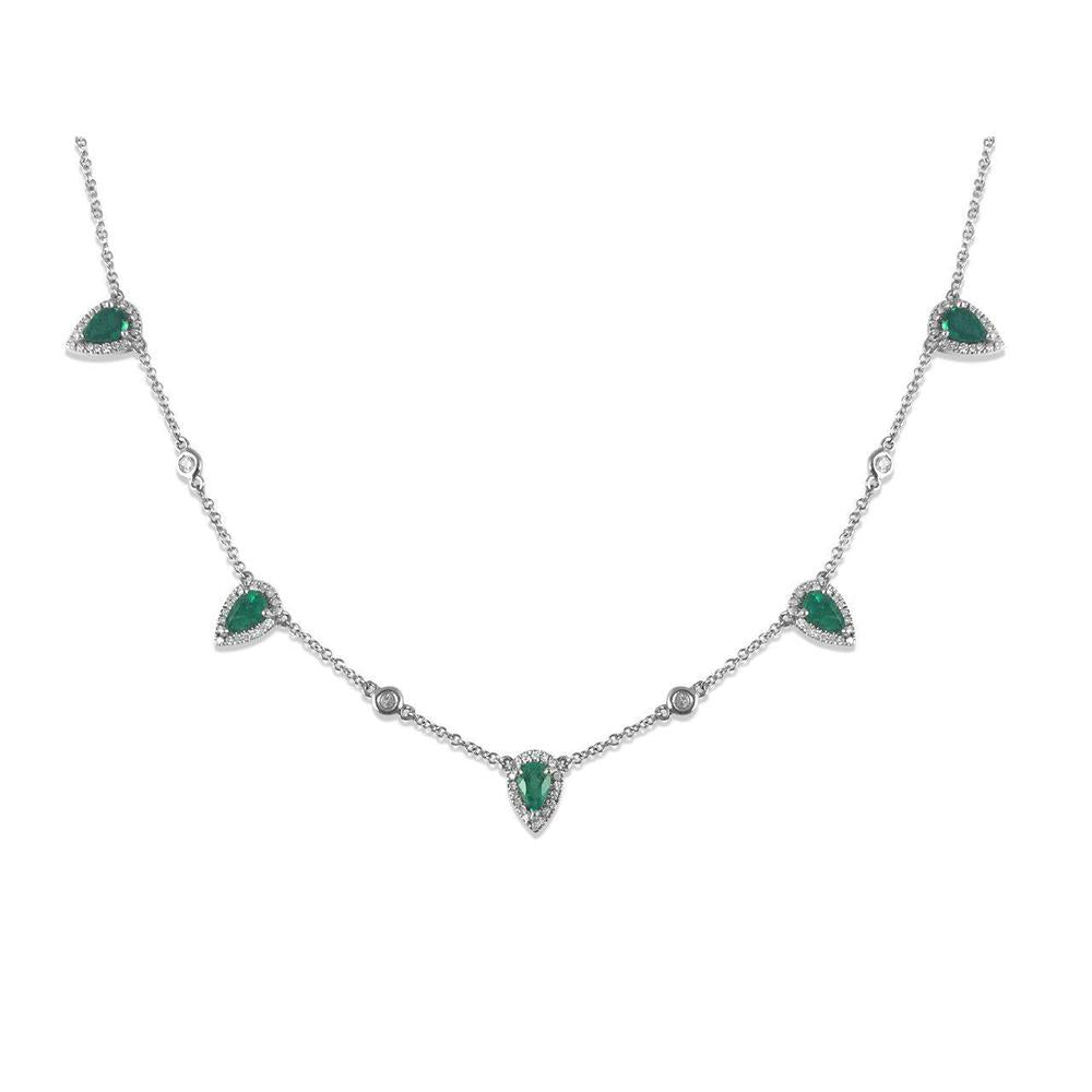 14K White Gold Necklace with Emerald and Diamonds