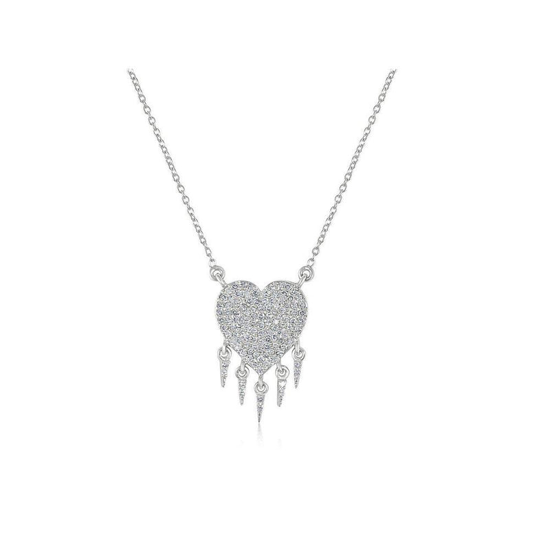 14K White Gold Necklace Heart with Diamonds