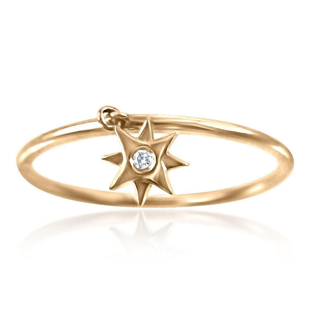14K Rose Gold Ring with Diamonds  Star 1 Diamond of 0.01ct Gold Total Weight: 0.96g