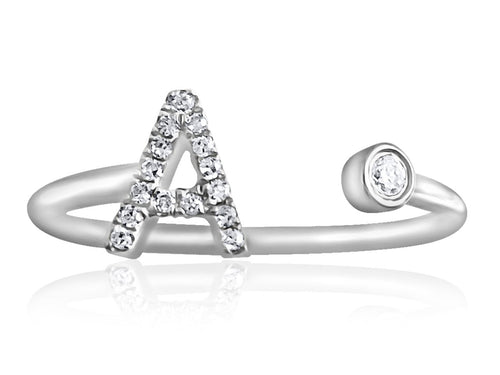 14K White or Yellow Gold Ring with Diamonds  Diamond Pave Initial 20 Diamonds of 0.06ct Gold Total Weight: 1.24g