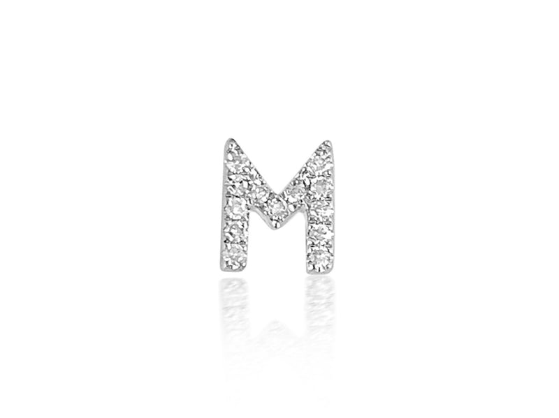 Single Initial Earring in 14K Gold with Diamonds