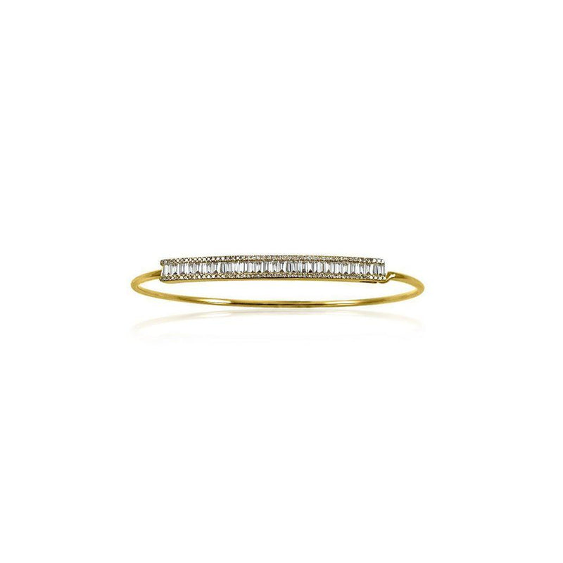 14K Yellow Gold Bangle with Diamonds