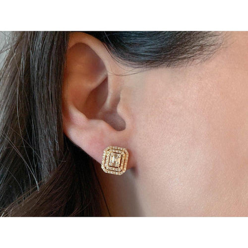14K Yellow Gold Stud Earrings with Baguettes