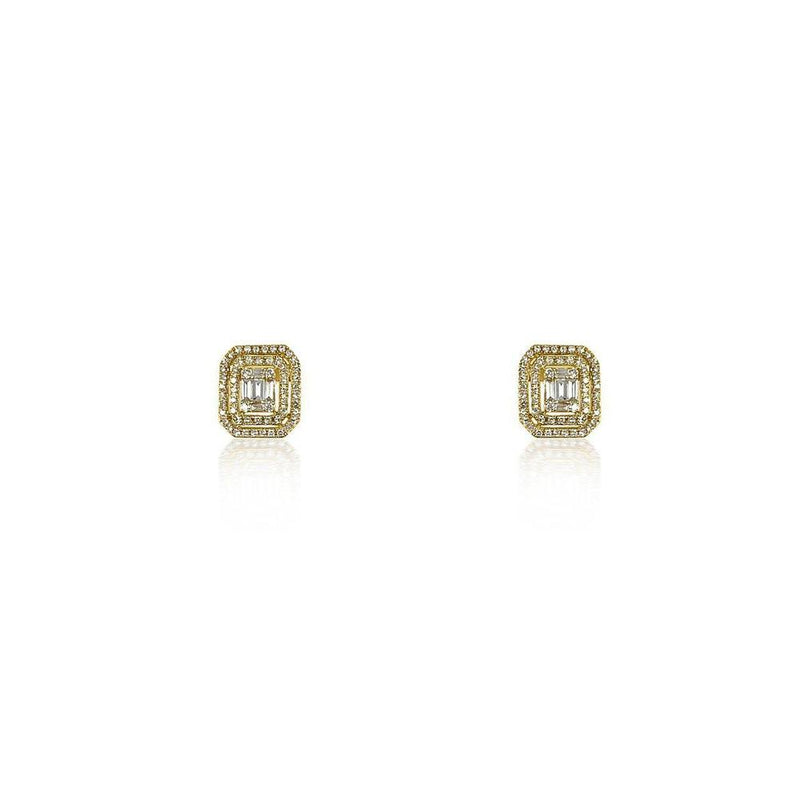 14K Yellow Gold Earrings with Baguettes