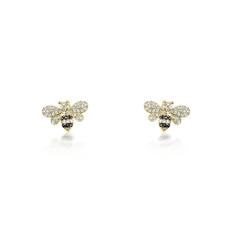 14K Yellow Gold Bee Studs Earrings with Black and White Diamonds