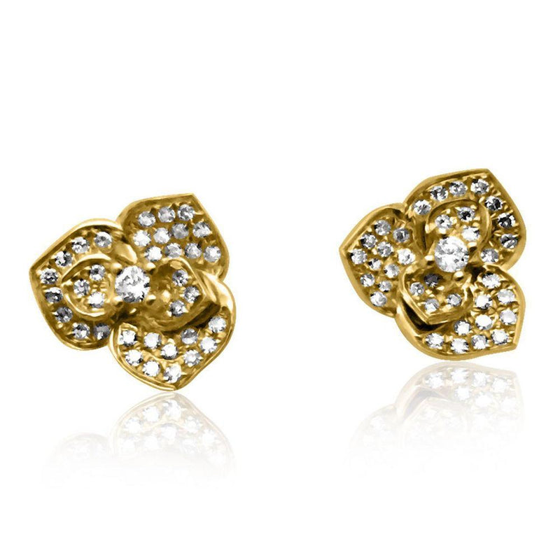 14K Yellow Gold Earrings with Diamonds  Studs Flowers 72 Diamonds of 0.22ct Gold Total Weight: 1.97g Post Back Closure