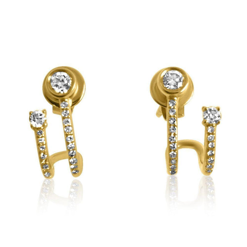 14K Yellow Gold Earrings with Diamonds     4 Diamonds of 0.17ct 34 Diamonds of 0.09ct Gold Total Weight: 1.80g Post Back Closure