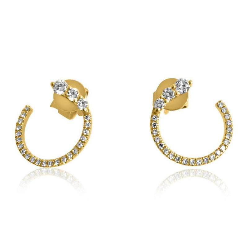14K Yellow Gold Earrings with Diamonds     6 Diamonds of 0.20ct 14 Diamonds of 0.14ct Gold Total Weight: 1.76g Wire Back Closure