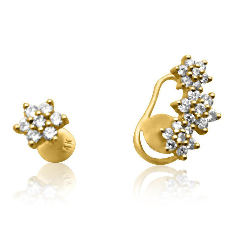 14K Yellow Gold Earrings with Diamonds  Studs Stars 28 Diamonds of 0.40ct Gold Total Weight: 1.50g Post Back Closure