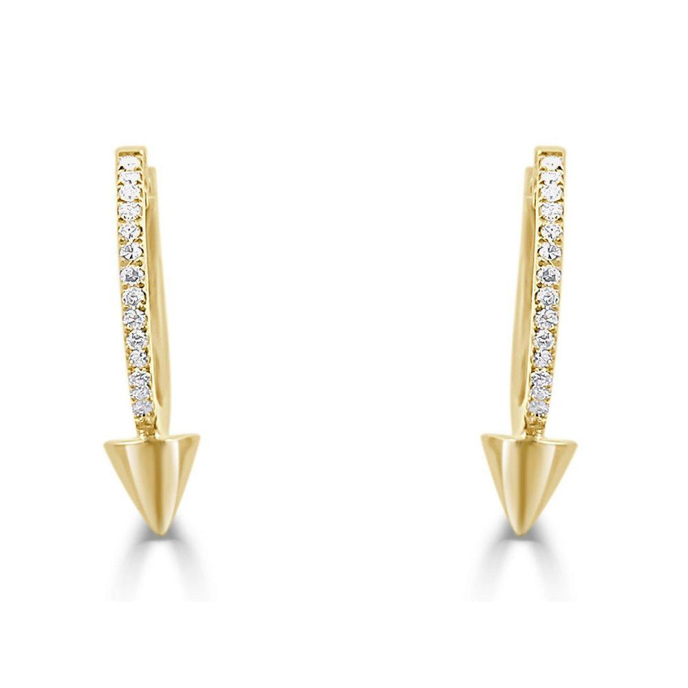 14K Yellow Earrings with Diamonds  30 Diamond of 0.09ct Gold Total Weight: 1.90g Snap-Post Closure