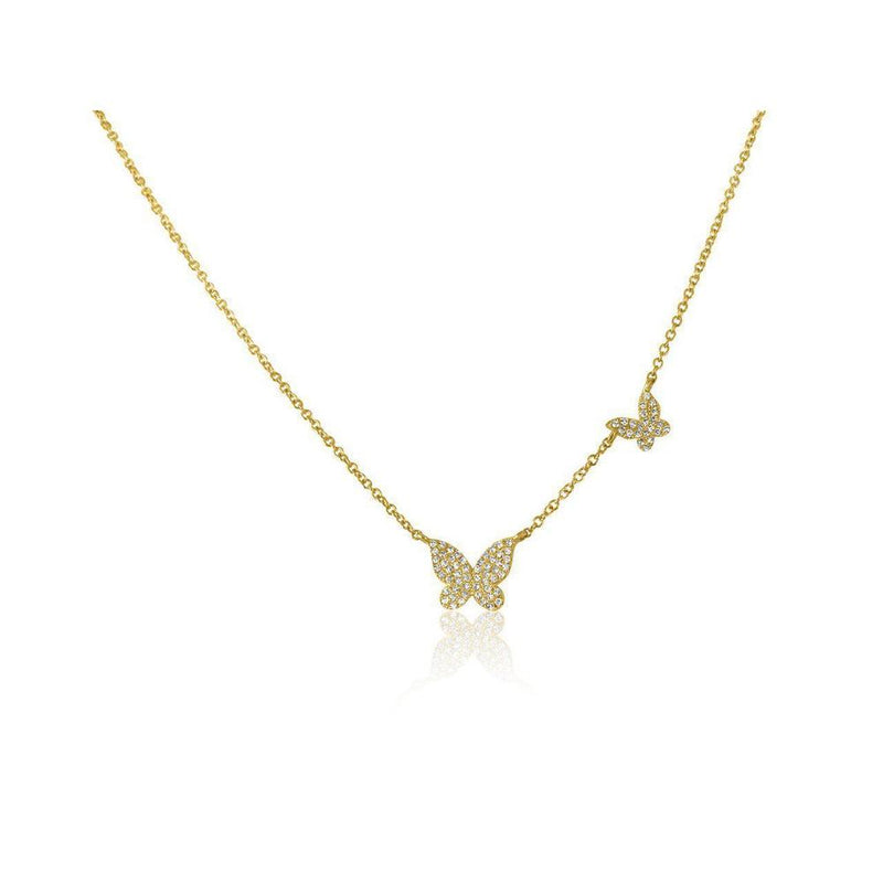 14K Yellow Gold Butterflies Necklace with Diamonds