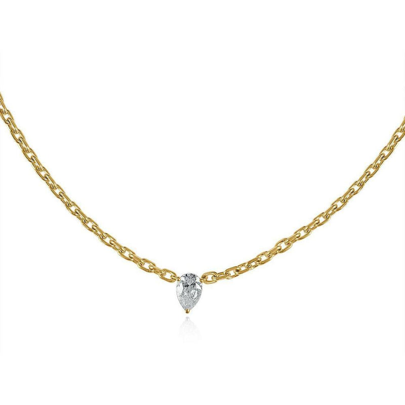 14K Yellow Gold Drop Diamond Chain Necklace
