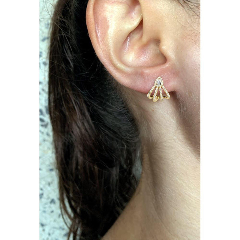14K Yellow Gold Ear Cuff Earring with Diamonds