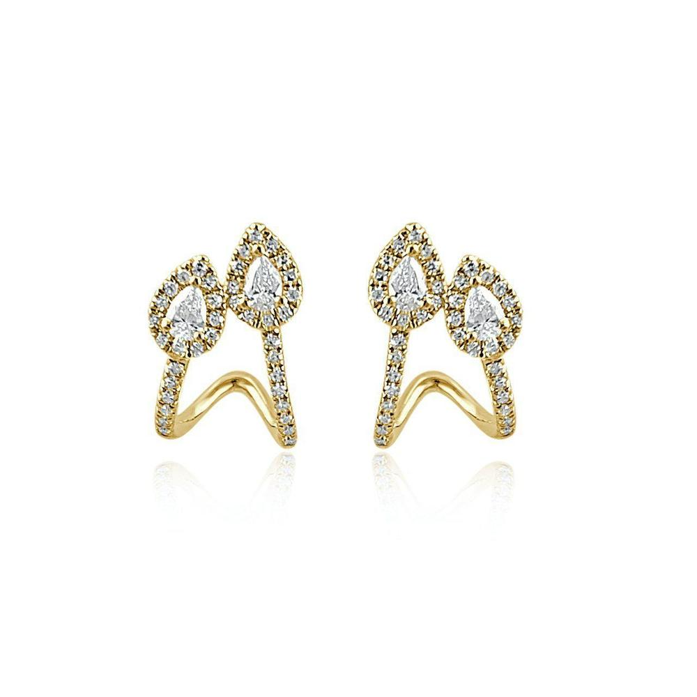 14K Yellow Gold Earring Hoops with Diamonds
