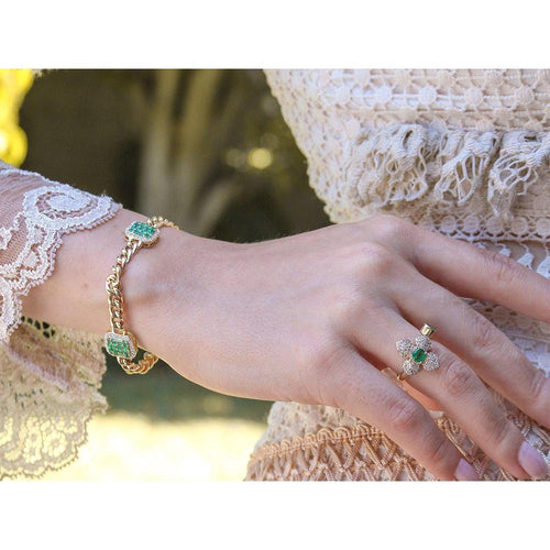 14K Yellow Gold Emerald Bracelet with Diamonds