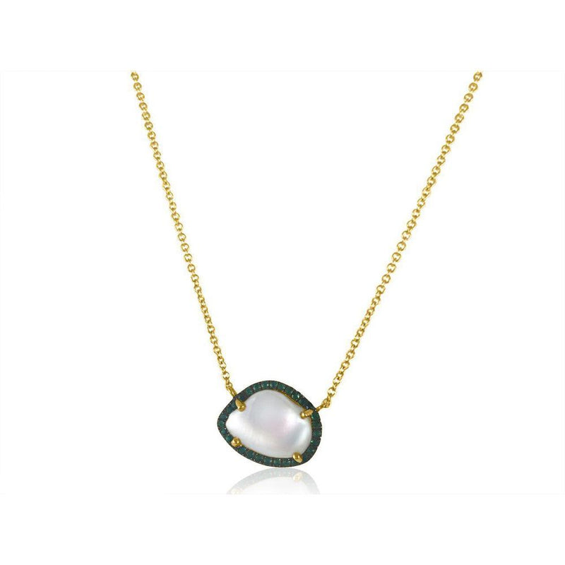 "14K Yellow Gold Necklace with Emeralds and Pearl  30 emeralds of 0.19ct 1 pearl of 1.00ct Gold Total Weight: 2.44g Chain size: 14""-16""-18"""