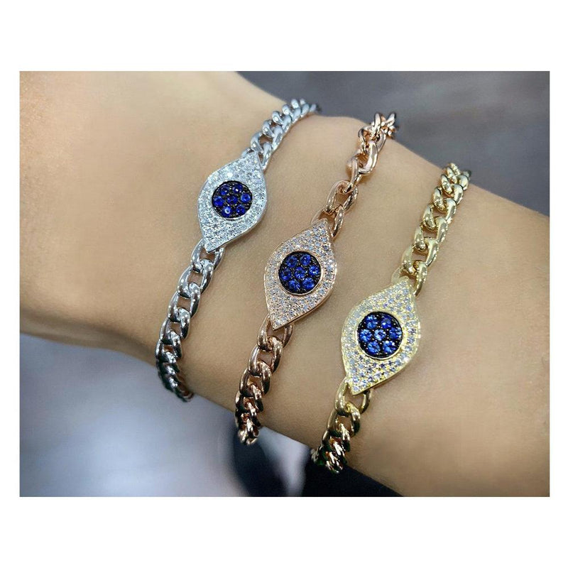 Evil eye bracelet in white, rose or yellow gold, sapphire and diamonds