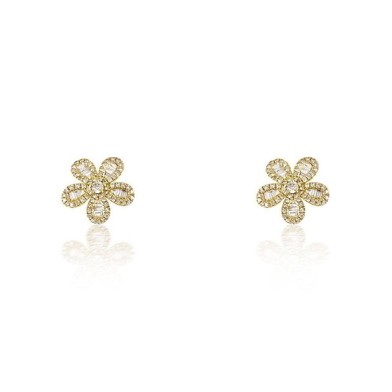 14K Yellow Gold Flower Earrings with Diamonds