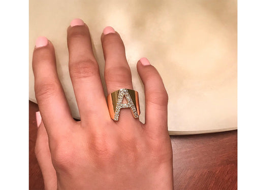 14K Yellow Gold Initial Letter Diamond Ring