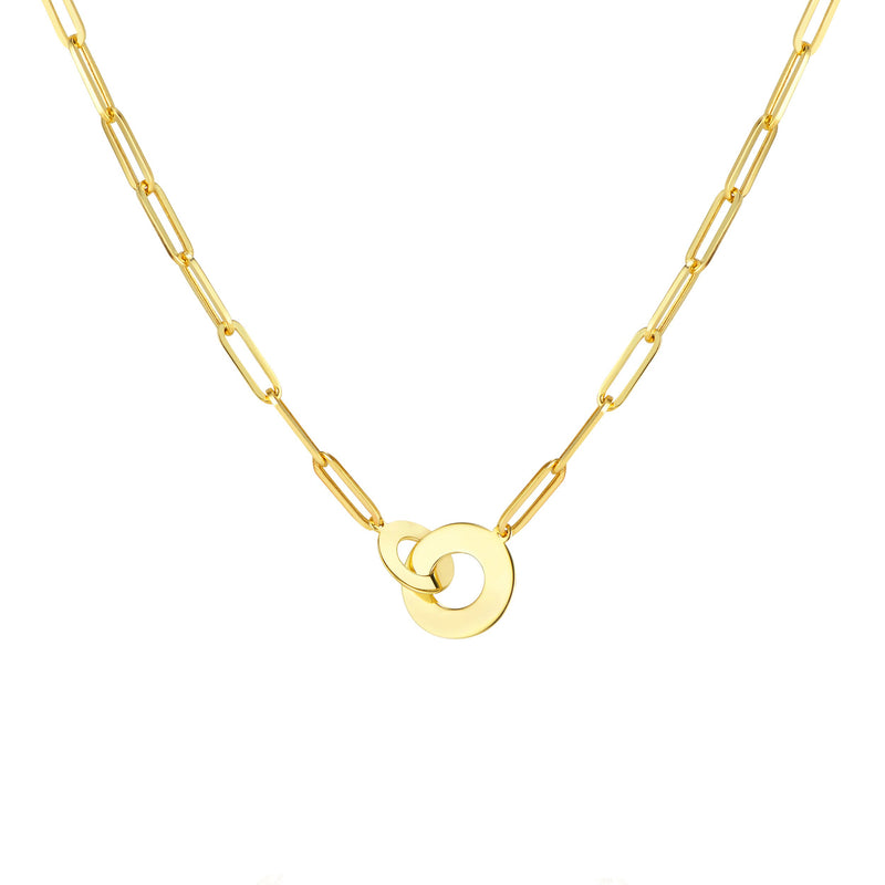 14K Yellow Gold Interlocked Disc Paper Clip Necklace
