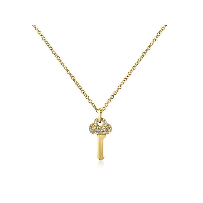 14K Yellow Gold Key Necklace with Diamonds