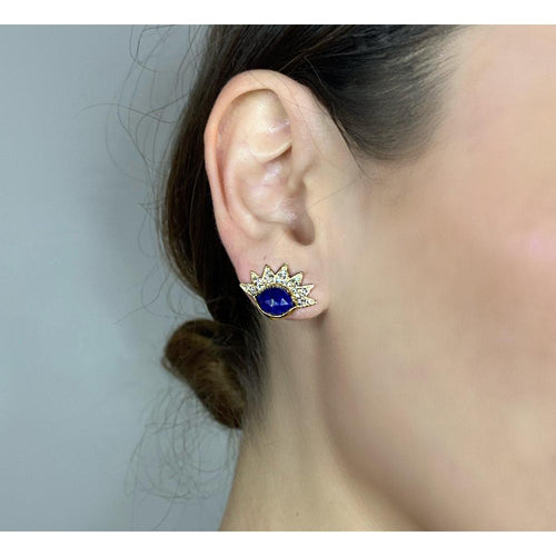 14K Yellow Gold Lapis lazuli Eyelash Evil Eye Studs