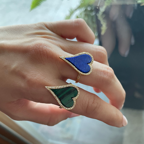 14K Yellow Gold Lapis Lazuli/Malachite Heart Diamond Ring
